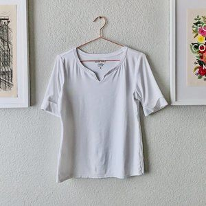 White Cotton Elbow Sleeves Split V-Neck